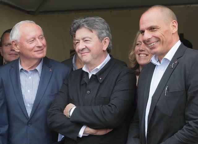 Vereint: Lafontaine Mitte September mit dem früheren griechischen Finanzminister Yannis Varoufakis (r.)  und dem Vorsitzenden der französischen Linkspartei (Parti de Gauche), Jean-Luc Mélenchon