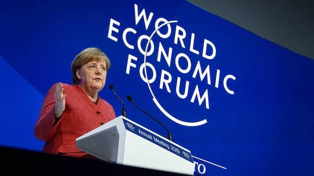 Bundeskanzlerin Angela Merkel am Mittwoch auf dem Weltwirtschaftsforum in Davos