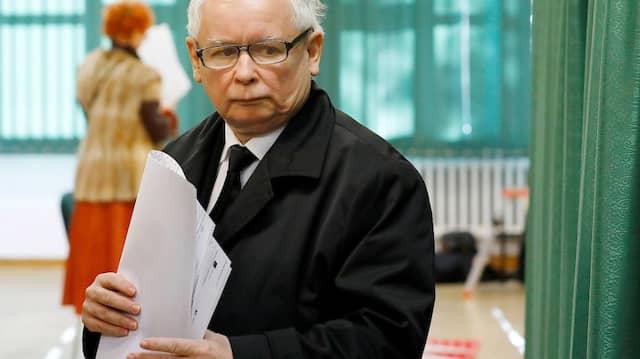 Der PiS-Vorsitzende Jaroslaw Kaczynski am Sonntag in Warschau
