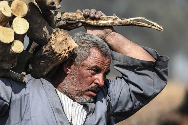 Ein Mann trägt trockenes Holz auf dem Rücken, um es zu den Kohle-Feuern zu tragen. Die Köhler haben keine Handschuhe oder Atemmasken, die sie vor Rauch und Feuer schützen könnten.