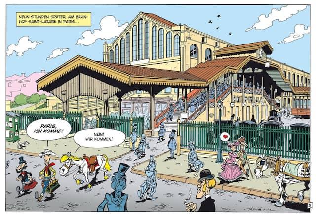Lucky Luke zieht auch in der französischen Hauptstadt die Aufmerksamkeit auf sich.