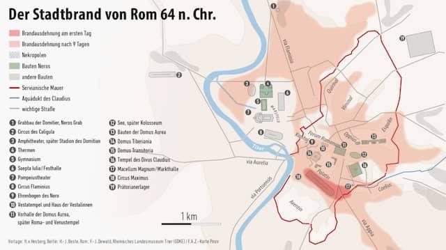 Das Feuer wütete vor allem in den dicht bebauten Senken. Die Stadt war anno 64 schon lange über die damals mehr als 400 Jahre alte Servianische Mauer hinausgewachsen.