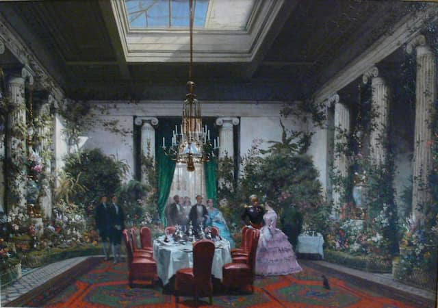 Das Gemälde von Charles Giraud zeigt das Esszimmer zum Salon von Prinzessin Mathilde im Jahr 1854. Acht Jahre später stießen die Goncourts dazu