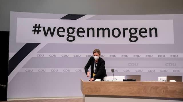 Die Hauptbühne für den fast ausschließlich virtuellen Parteitag der CDU