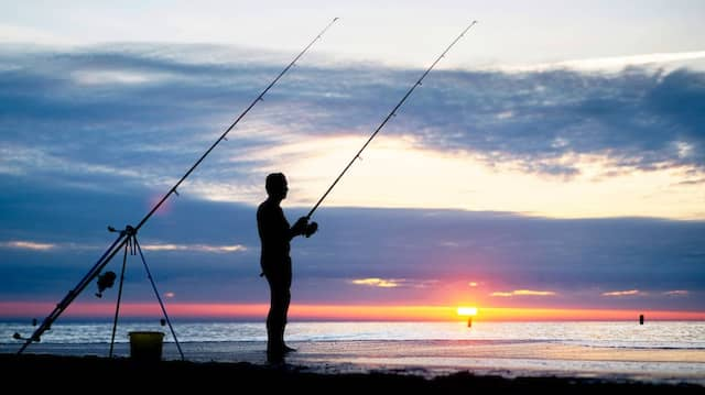 Ein Angler auf Norderney