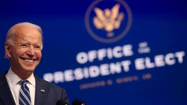 Joe Biden bei einer Ansprache am Mittwoch in seinem Hauptquartier in Wilmington