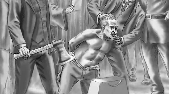 Die Hinrichtung: Karl Hopf wurde am 23. März 1914 im Preungesheimer Gefängnis enthauptet. Für das besprochene Buch hat ein Zeichner die Szene dargestellt.