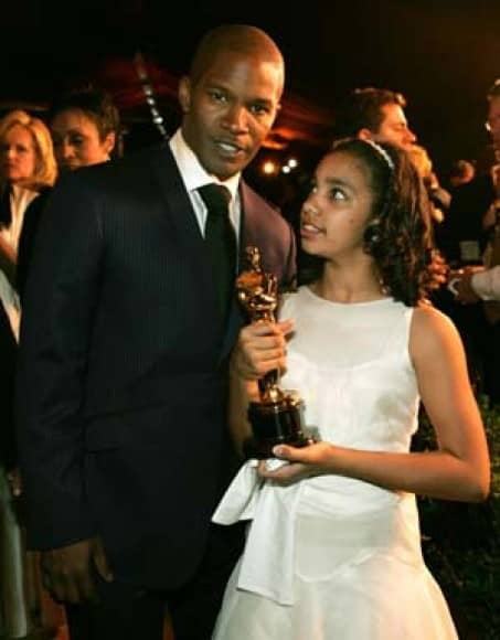 Actor Jamie Foxx and daughter at Academy Awards party in Hollywood