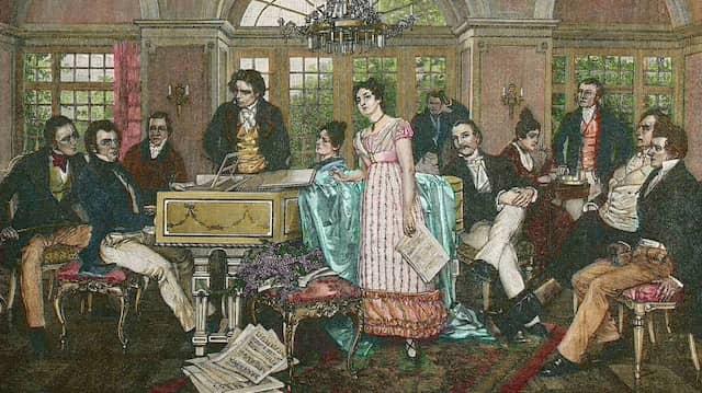 Schubert, Beethoven, Mayrhofer: In Hans Temples Bild aus dem Hause Joseph von Spauns sind alle versammelt.