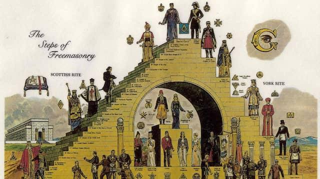 Pyramidenschema: Die Schritte der Freimaurerei auf einer anonymen Lithographie
