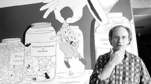 Gary Larson 1985 vor einem seiner Cartoons