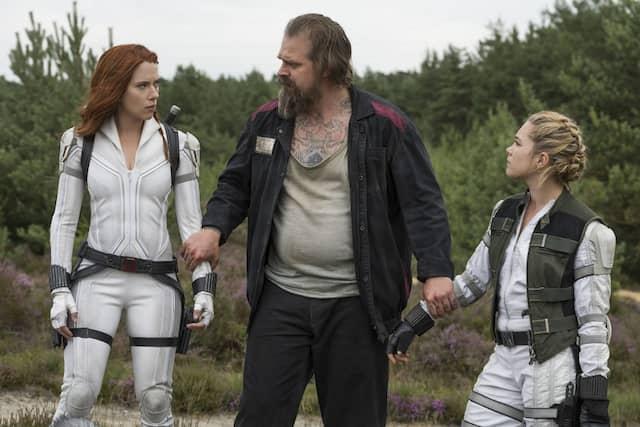 """Etwas außer Form: David Harbour (Mitte) spielt den alternden Superhelden """"Red Guardian""""."""