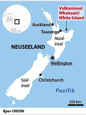 Rund 50 Kilometer vor der Ostküste Neuseeland liegt die Vulkaninsel – zu weit weg für ein schnelleres Eingreifen der Rettungskräfte.