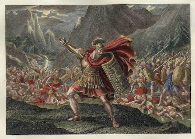 Tod des Publius Quintilius Varus, Radierung von G. Mochetti nach einer Zeichnung von Bartolomeo Pinelli (1781–1835)