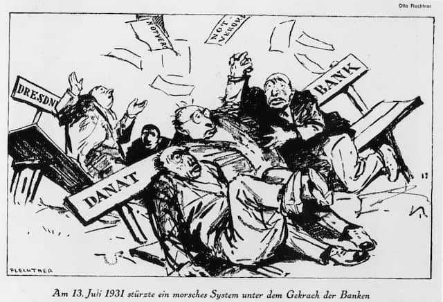 Zeitgenössische Karikatur zum Zusammenbruch der Darmstädter Nationalbank