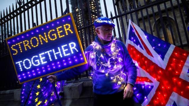 Am Vorabend des Brexits: In der Nähe des britischen Parlaments demonstriert ein Remainer