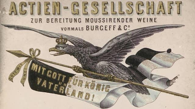 Mit Gott für Volk und Vaterland - und mit schäumendem Rheinwein: Sektetikett aus dem Jahr 1870