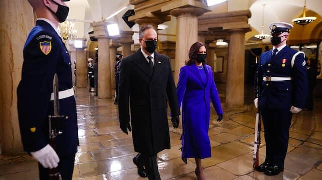 Das Ehepaar Harris und Emhoff am Tag der Amtseinführung im Januar.