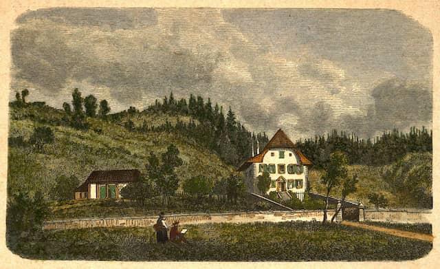 Wo der Nationaldichter lebte: Das Jeremias-Gotthelf-Haus in Lützelflüh in einer Darstellung von 1877.
