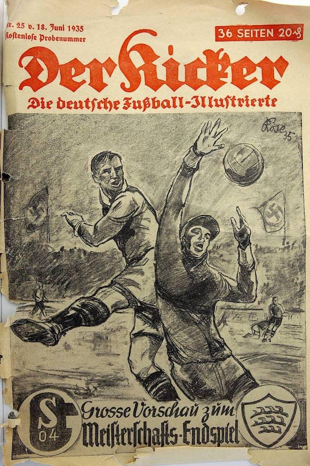 """Ein Abbild seiner Zeit: Der """"Kicker"""" im Jahr 1935 – der Einfluss der NS-Diktatur ist nicht zu übersehen."""