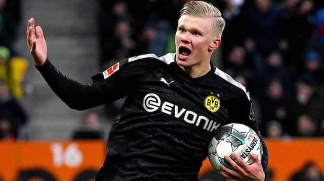 Jubel über drei Tore beim Debüt: Erling Haaland in Augsburg