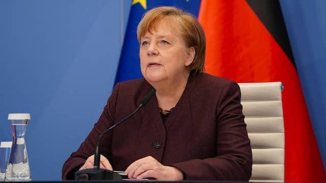 Angela Merkel spricht am 26. Januar per Bildschirm zum Publikum des Weltwirtschaftsforums.