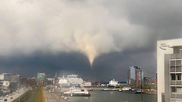 Ein Tornado über Kiel am frühen Abend des 29. Septembers 2021.