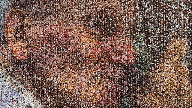 Ein Porträt von Johannes Paul II. in Krakau, zusammengesetzt aus vielen Einzelbildern