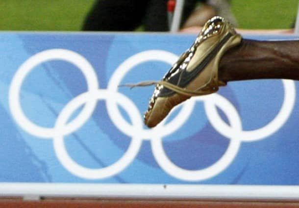 The shoe of Usain Bolt of Jamaica is seen untied after winning the men''s 100m final at the Beijing 2008 Olympic Games