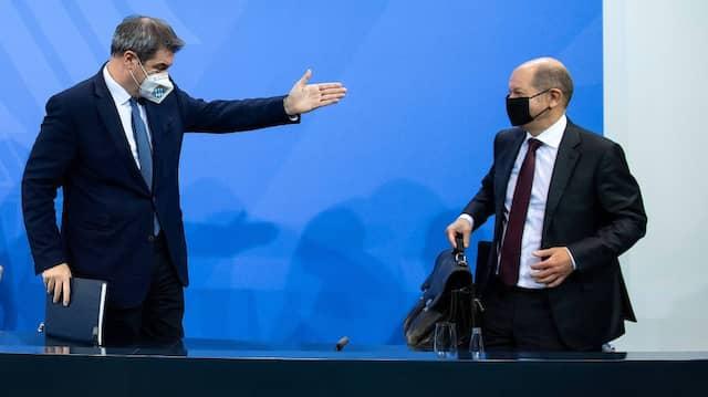 Als noch kein Streit in Sicht war: Olaf Scholz und Markus Söder im Dezember letzten Jahres