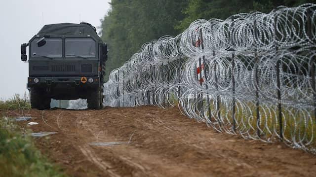 Absperrungen an der polnischen Grenze zu Belarus