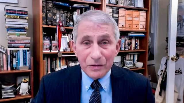 Der amerikanische Immunologe Anthony Fauci in seiner per Video übertragenen Rede vor der WHO am 21. Januar