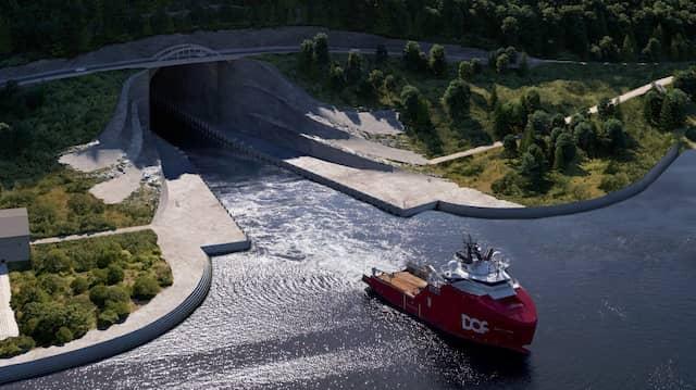 Schöne Aussichten im Süden: So stellt sich die norwegische Küstenverwaltung den Eingang zu ihrem gut getarnten Großprojekt aufseiten des Moldefjords vor.