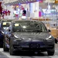 Tesla-Autos in Schanghai