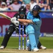 Der Engländer Ben Stokes bei einem Schuss während des Spiels gegen Neuseeland in der Gruppenphase der Weltmeisterschaft