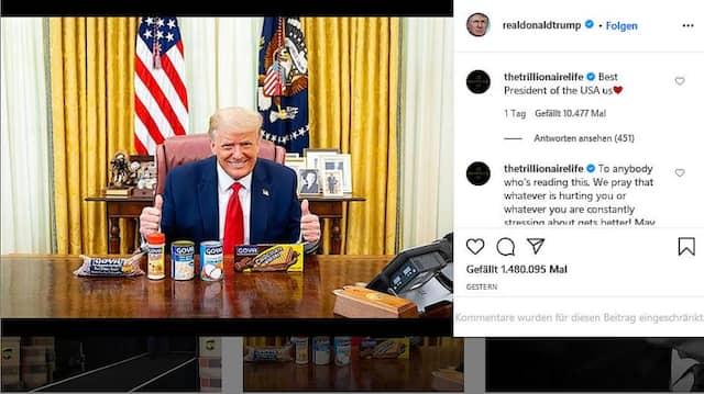 Werbung aus dem Zentrum der Macht: Donald Trump lässt sich im Oval Office mit Goya-Produkten fotografieren.