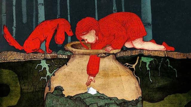 """Der nächste Hinweis wartet im Weinkrug auf Tina und Poppy: Illustration von Tatia Nadareischwili aus """"Tina hat Mut""""."""