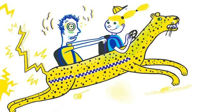 Wer sagt, ein Taxi brauche Räder? Wie die Geschichten von Saša Stanišić ignorieren auch die Illustrationen von Katja Spitzer Konventionen souverän.
