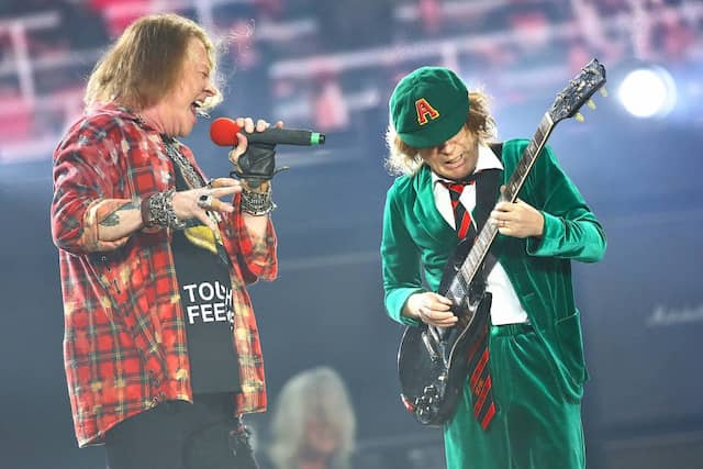 Axl Rose und Leadgitarrist Angus Young spielten in der Red-Bull-Arena in Leipzig vor 45.000 Zuschauern das zweite und letzte Deutschlandkonzert.