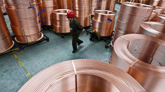 Kupferfabrik in Zhuji in Ost-China