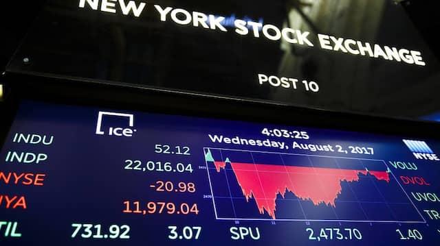Monitor auf dem Flur der New Yorker Börse zeigt den Dow Jones am Mittwoch.