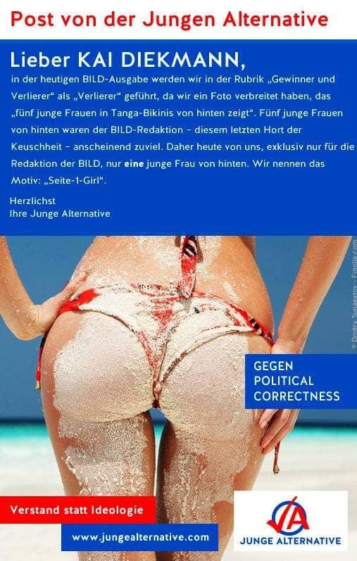 Auch von der Bild-Zeitung bekam die JA Kritik wegen dem Plakat mit fünf Frauenpos - und antwortete mit einem einzelnen.