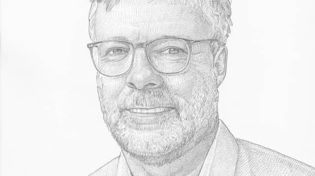 Nie ohne Fünftage-Bart: Gregor Disson, wie unser Zeichner Oliver Sebel ihn sieht