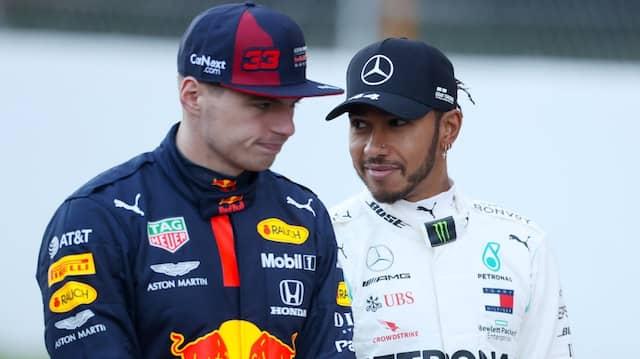 Der Weltmeister und sein Herausforderer: Lewis Hamilton (rechts) neben Max Verstappen