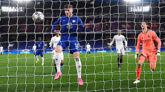 Das war dann doch leicht: Timo Werner trifft ins leere Tor für Chelsea zum 1:0 gegen Real Madrid.