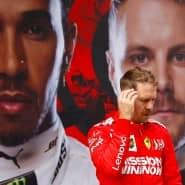 Nicht zum geplanten Termin in Schanghai: Sebastian Vettel, hier beim Großen Preis von China 2019 vor Fotos seiner beiden Mercedes-Konkurrenten