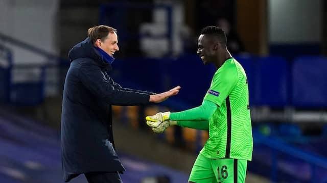 Glücksgriff: Thomas Tuchel verpasste dem FC Chelsea defensive Stabilität, sein Torwart Edouard Mendy freut sich mit ihm.