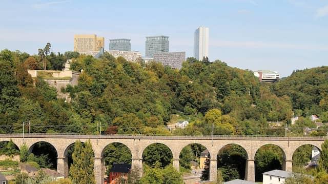 Blick auf den Kirchberg, dem Finanzzentrum von Luxemburg