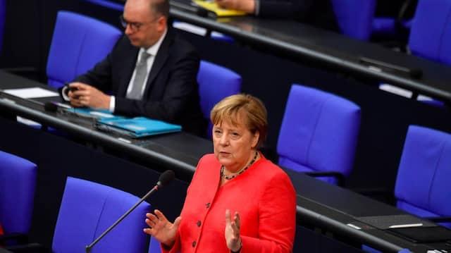 Merkel am Mittwoch während der Fragerunde im Bundestag
