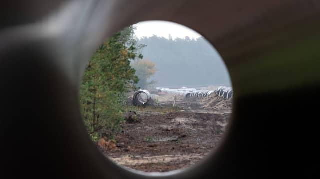 Rohre für die Nord Stream 2-Anschlusspipeline Eugal, die Gas von der Lubminer Heide nach Tschechien bringen soll.